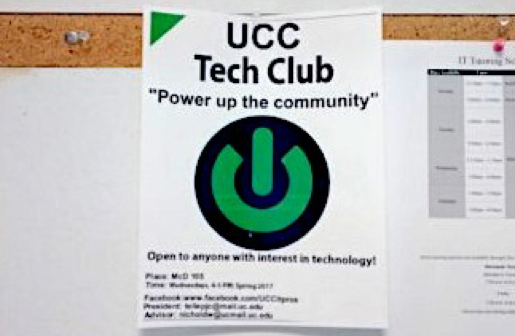 A picture of a flyer advertising the UCC Tech Club
