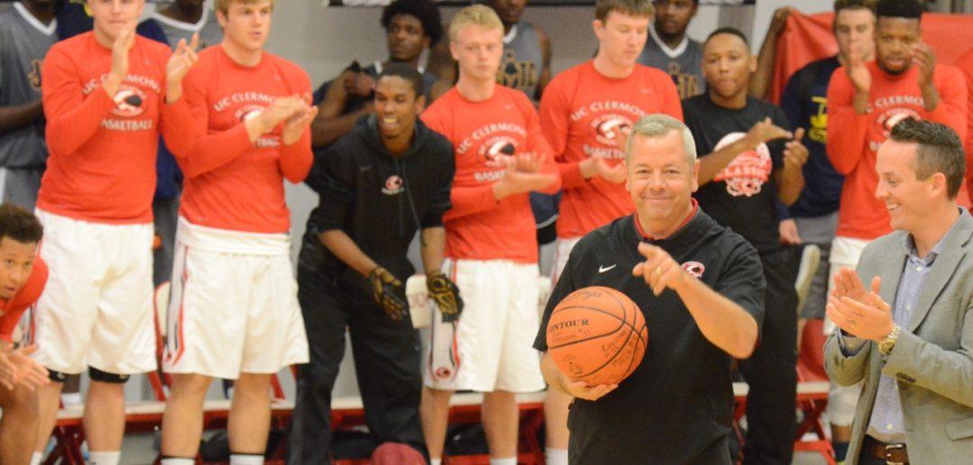 Head Coach Steve Ellis recieves first game ball of the season