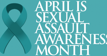 "A teal ribbon with ""April is Sexual Assault Awareness Month"" written to the right of it."