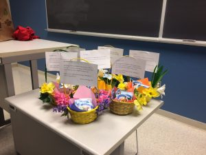 Baskets that the biology club decorated.