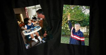 Two photos of Jim Smith. Left- Watching Nikki Addison eat cake as a child. Right- Picking an orange from his tree.